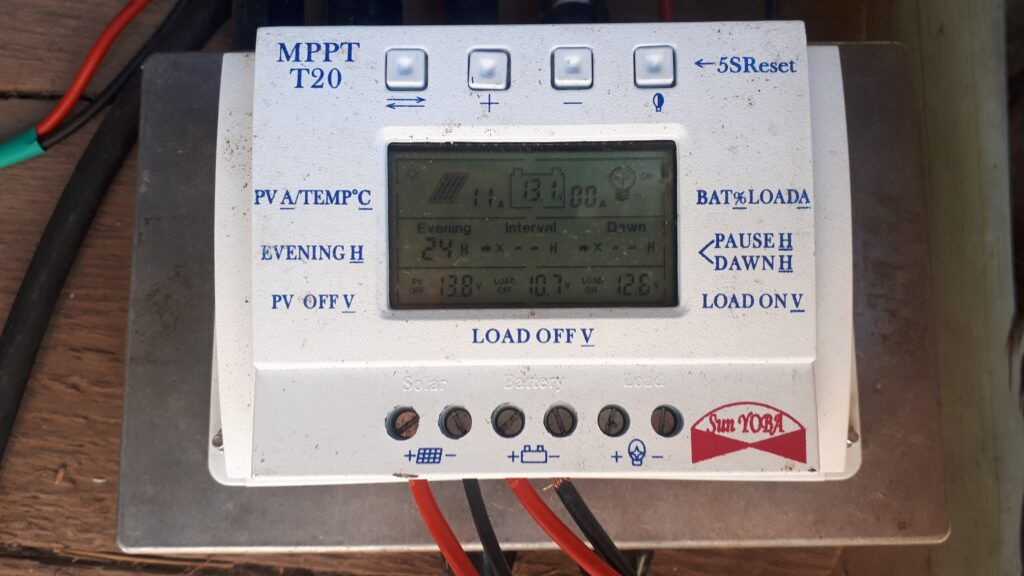 MPPT solar charge controller used with three off-grid solar panels